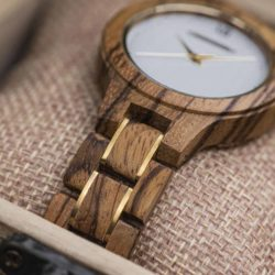 Wooden Watches for Women Natural Zebra Wood Glod - Sky