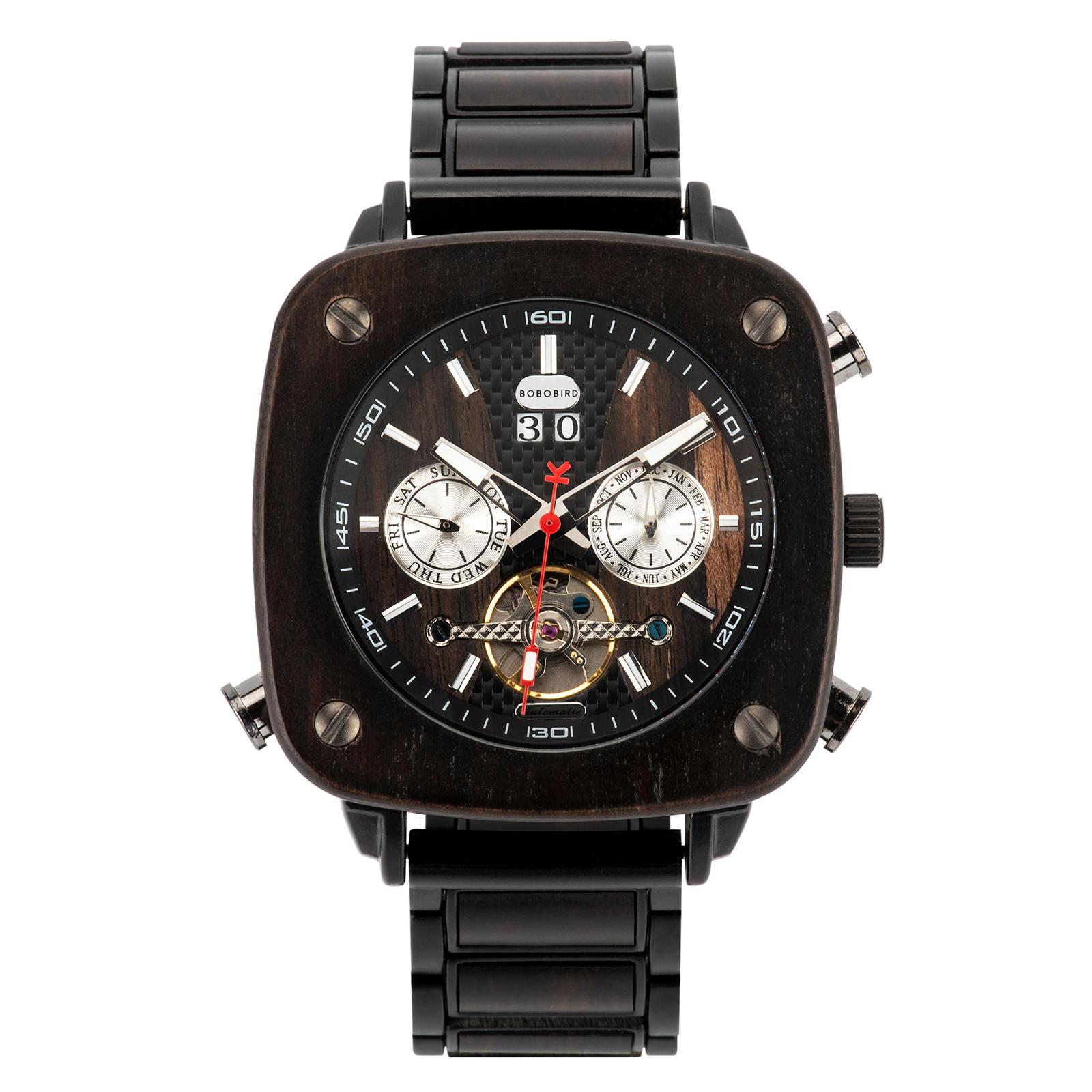 Natural Ebony Square Multifunctional Mechanical Wooden Watch Sullivan 1