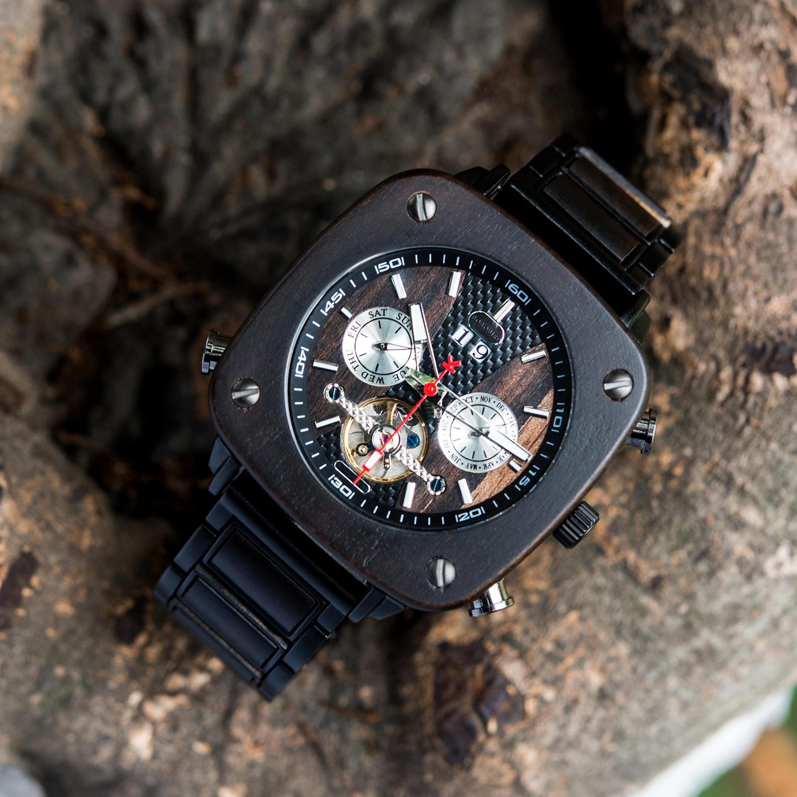 Natural Ebony Square Multifunctional Mechanical Wooden Watch - Sullivan