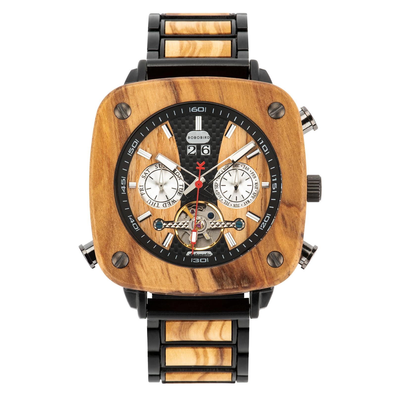 Natural Zebrawood Square Multifunctional Mechanical Wooden Watch Sullivan 13