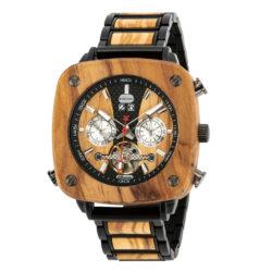 Natural Zebrawood Square Multifunctional Mechanical Wooden Watch - Sullivan