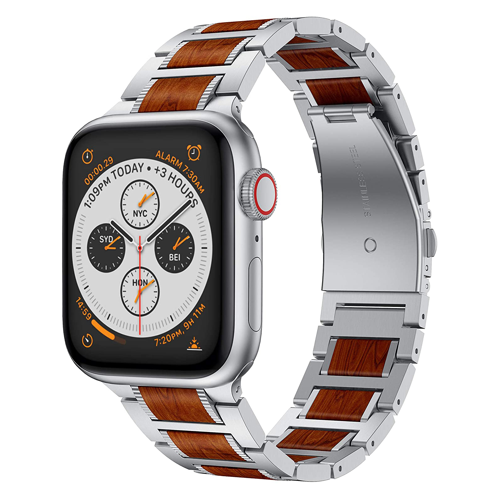 red sandalwood stainless steel metal band for apple watch Ruban apple watch metal bands 4