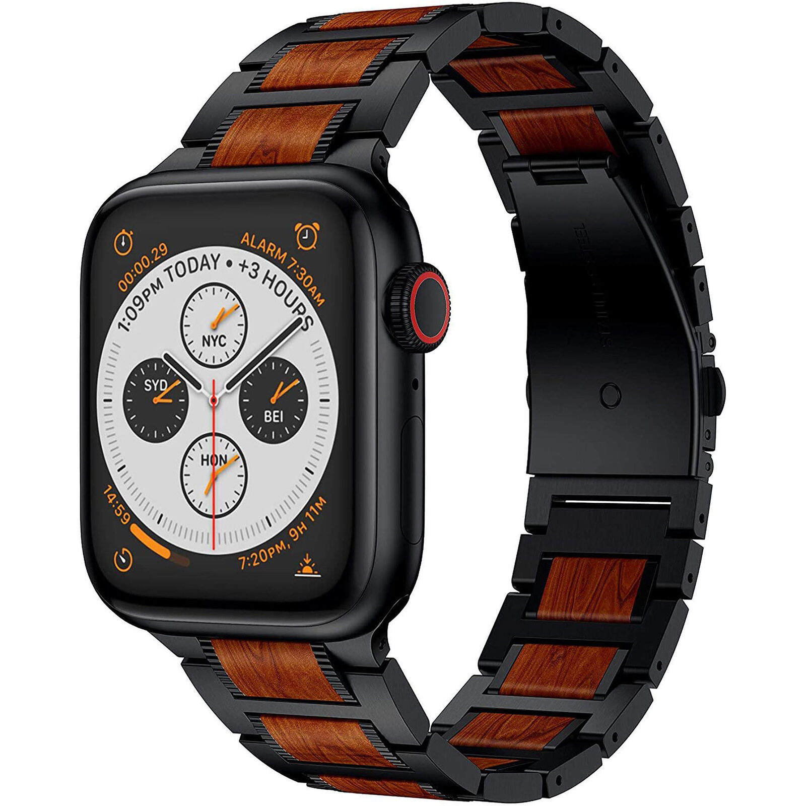 Natural Red Sandalwood Apple Watch Band - Black