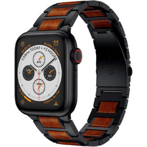 red sandalwood stainless steel metal band for apple watch Ruban apple watch metal bands 7